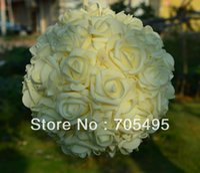 Wholesale 9 cm Artifiical Kissing Foam Rose Flower Ball Wedding Centerpiece Decorative Flowers Wreaths