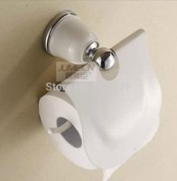 Wholesale And Retail Fashion Bathroom White and Chrome Toilet Paper Holder Brass Toilet Paper Tissue Holder