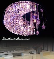 bedroom ceiling decorations - New design Modern fashinal decoration LED segmentation dimmale chandelier ceiling light Brilliant crystal short bars and star