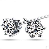 Wholesale Luxury Women Crystal Stud Earring Korean Style Six Claw Jewelry Classic Sterling Silver Earrings Daihe Hot Selling