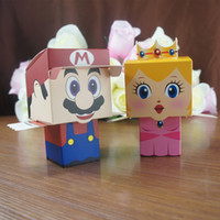 Wholesale Super Mario Candy Boxes - 6*6*6cm Wedding Candy Bags Lots Paper Creative Cute Super Mario Easy Folding Free Shiping Wedding Supplies