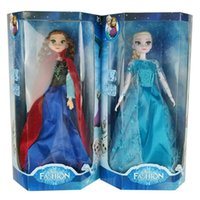 Wholesale Frozen Elsa Anna Dolls with Music quot let it go quot with Light with Retail Box upgraded version with Long eyelashes cm inches