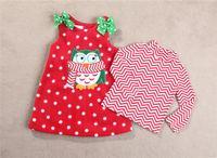 Wholesale 2 piece Girl Santa Suit Owls Christmas Dress Suit Skirt Garment Long Sleeves Children s New Year Clothes Kids Fashion Sets