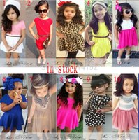 american girl clothes - Retail girls clothing summer European American baby girls dress Short sleeve children kids girl dresses style can choose