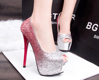 Wholesale Sequins gradient wedding shoes Open Toe Women s Pumps Sexy High Heels Platform Rhinestone Woman Sandals Wedding Shoes