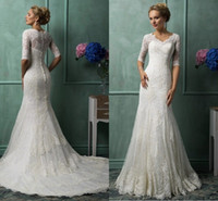 Cheap Mermaid Wedding Dresses Best Half Sleeve V Neck