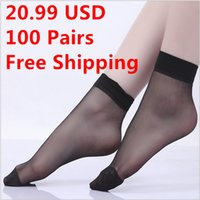 Wholesale Pairs High Quality Woman Socks color Candy colors Crystal silk fabrics Thin Socks For old women Socks