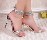 Cheap Sexy Silver High Heel Summer Shoes Fashion Lady Sandals Rhinestone Party Prom Shoes wedding shoes for Bridal Bridesmaid Shoes