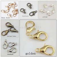 Wholesale mm zinc alloy lobster clasp parrot clasps hook silver gold antique bronze rhodium claw clasp