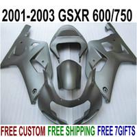 Wholesale ABS plastic fairing kit for SUZUKI GSX R600 GSX R750 K1 GSXR all matte black new fairings set EF17