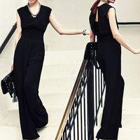 Cheap 2015 European Women Elegant Formal Jumpsuits Ladies Long Black Chiffon V-Neck Office Jumpsuit Palazzo Pants Plus Size S-XXL