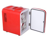 Wholesale Low Noise And Portable Mini Fridge Cooler and Warmer Auto Car Boat Home Office Hot Cold Switch AC DC Red Low Power Consumption