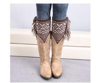 Wholesale 120pairs new fashion Bohemian style knitted christmas geometric boot cuff leg warmer