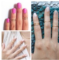 Cheap 1500pcs Band Midi Ring Urban Gold stack Plain Cute Above Knuckle Ring Polishing rings Joint ring wholesale