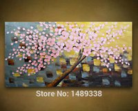 Cheap Printed picture 1 panel pink flowers Wall art kinfe oil painting Modern Home Decorative Paint on Canvas with framed T 408