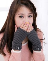 Wholesale Fashion half fingers warmer handmade flower rhinestone women knit gloves crochet mitten CPAM