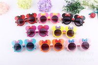 Wholesale EMS free New Cute Mickey Mouse Children Sunglasses Flip Up Trend Minnie Lovely Kids Sunglasses B001