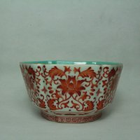 Wholesale Qing Dynasty Qianlong Vanadium red color Six Angle Bowl crafts vintage home decoration drinkware collection