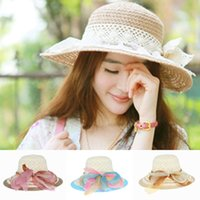 Wholesale New Arrival Crochet Women Straw Cap Lace Bowknot Summer Handmade Lady Beach Sun Hats Travel Party EUL