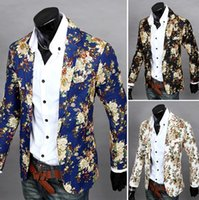 Wholesale hot selling high quality slim fit blazer mens causal jackets new men fashion leisure flower suit Brand new X6637F