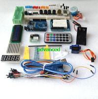 al por mayor jumper for arduino-Envío libre Kit del arrancador / motor del paso / Servo / 1602 LCD / alambre del tablero de Breadboard / del puente / UNO R3 para el arduino