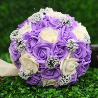 Wholesale 2015 Colorful Artificial Wedding Bouquets for Bride Hand Holding Flowers Wedding Favors Rose Wedding Bouquet Flowers