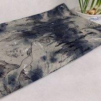 San scissors batik fabrics - Spring cotton cloth material fabric linen curtains Ink ethnic imitation batik cloth decorative Chinese style