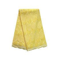 Wholesale High Quality African Swiss Cotton Voile Lace Fabric Embroidery Swiss Voile Lace Yards Yellow Gold