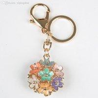 Charms Chain gros-1PCS Fleur Marque Keyring Creative Key Mode Voiture Métal Keychain femmes cadeau Porte-clés Bijoux Pendentif X60 * JJ0198