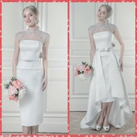 Wholesale 2015 New Coming See Through High Collar Beaded Sequins Crystal Sheath Wedding Dresses Cap Sleeveless Bridal Gowns Detachable High Low Train