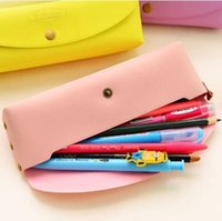 Cheap Wholesale-2015 New Arrival Creative Stationery Fashion Vintage Pu Leather Candy Color Pen Pencil Case Bags FFU2015062
