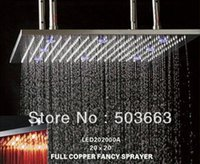 Wholesale 20 quot Luxury Nickel Brushed FInsih Brass Square LED Rain Shower Head YS