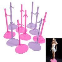 Birth-12 months doll accessories - Dolls Toy Stand Support for Barbie Girls Prop Up Mannequin Model Display Holder Purple Pink Color