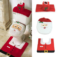 bathrooms suites - Y92 Cute happy Santa Claus carpet bathroom suite toilet lid Christmas decorations