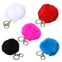 Wholesale 14Colors CM Genuine Rabbit Fur Ball Keychain Valentine s Day Gift K Gold Plated Key rings Keychain For Car Bag Key Chains For Lovers