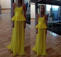Cheap 2014 Cheap Yellow Evening Gowns Sexy Strapless Tiers Peplum Sleeveless Ruffle Chiffon Sweep Train Sheath Formal Dresses High Quality CGL202