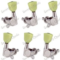 Wholesale A set Chrome Guitar Tuning Pegs Tuners Machine Heads For Acoustic Electric Guitar Jade Green Trapezoid Button