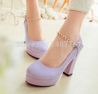 Wholesale New arrival women college wind small fresh round toe square high heels fashion chain agrafe single shoes