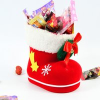 Wholesale Christmas boots red cute gift shoe Christmas tree decorations pendant kid New Year gift Festive Party Supplies