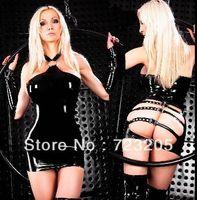 Wholesale Hot Selling Faux Leather Costume Sexy Black Dance Wear Gothic Punk PU Wetlook Clubwear Women Fashion PVC Clubwear New