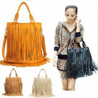 Wholesale 2015 New Designer Fashion Vintage Women s Handbag PU Leather Tassel Shoulder Metal Large Capacity Messenger Cross Body Fringe Purse Bag