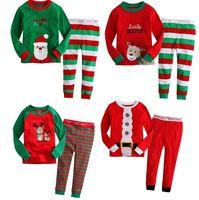 Wholesale 18 OFF PCSnew kids christmas pajamas deer snow printed children pajama long sleeve boys leisure wear sleepwear PCSTshirt PCSpants DL