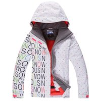 Gros-Hot Gsou Snow White / Black Jacket Lettre Femmes Ski sports d'hiver en plein air Vêtements 10K Snowboard Waterproof Costume Costume Neige