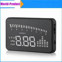 Wholesale X5 Universal Car HUD Alarm System Speeding Fuel Warning Windshield Projector Car Detector Head Up Display KM h DHL Free