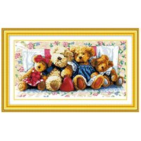 bear cross stitch - DIY Handmade Needlework Cross Stitch Kit Set Embroidery Precise Printed Bear Family Design Cross Stitching Home Decoration H11780
