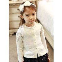 Wholesale Newest Baby Girl Sweet Bow coat Long Sleeve Cotton Lacework Pearl o neck princess outerwear coat Jackets