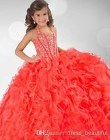 Wholesale 2014 New Coral Organza Halter Ruffles Crystals Beaded Flower Girl Ball Gown Pageant Dresses RG Cheap for sale