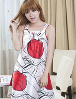 apple pajamas - Hot sale graffiti wide straps easy print satin tide tied pajamas big red apple