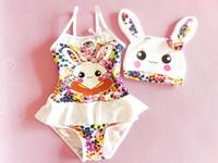 beach bunny swimwear - Summer new Children swimsuit cute bunny floral falbala suspender Siamese Swimsuit Kids spa Beach swimwear have swimming hats sets