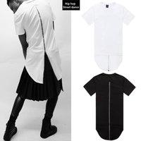 Wholesale Men t shirt fashion Back zipper Long style Swag Kanye West hip hop t shirt Street dance Slim men tshirt Clothing